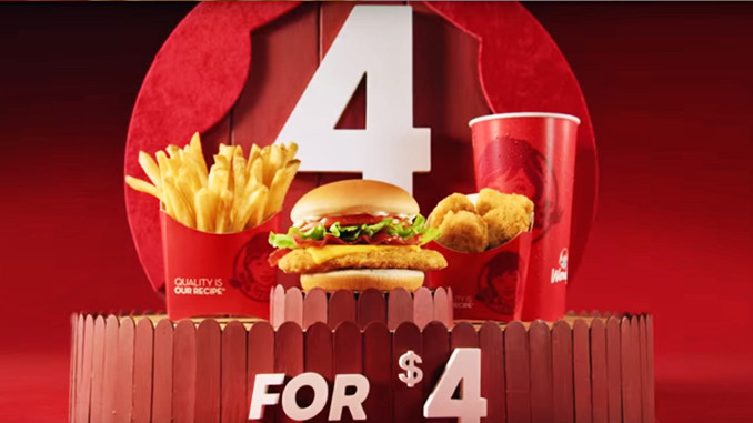 Wendys 4 for 4 menus